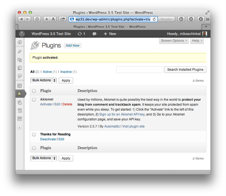 Our plugin as it appears in the plugin list in WordPress admin after activation