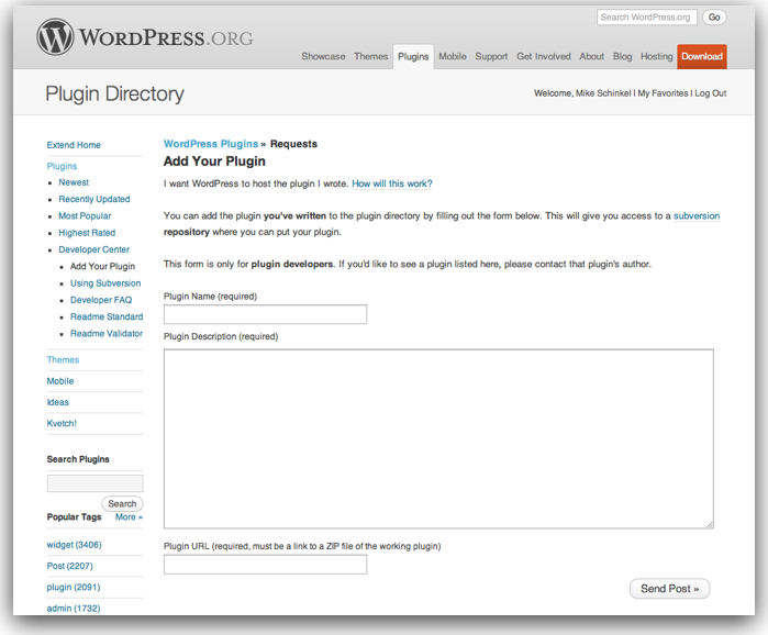 """The """"Add Your Plugin"""" Page at WordPress.org"""