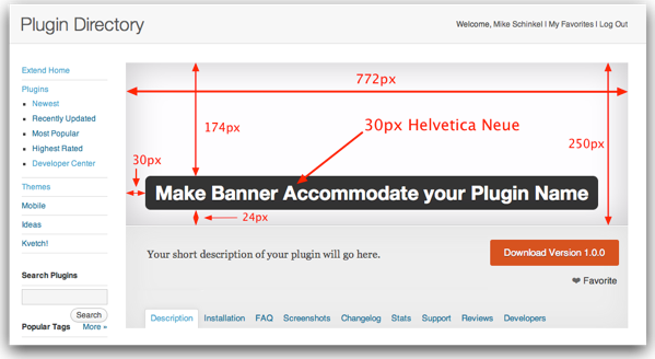 Annotated WordPress Plugin Banner with Dimensions and Font Size and Family