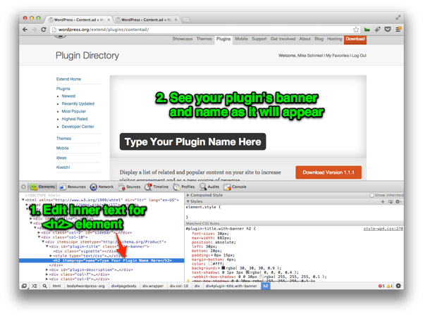Previewing your Plugin's Banner and Name as it will Appear