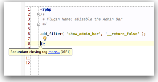 Redundant PHP Closing Tag as Show in PhpStorm