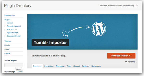 Banner for the Tumbler Importer WordPress Plugin